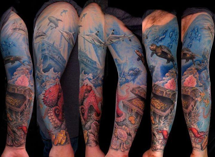 Great ocean and treasure tattoo on full arm
