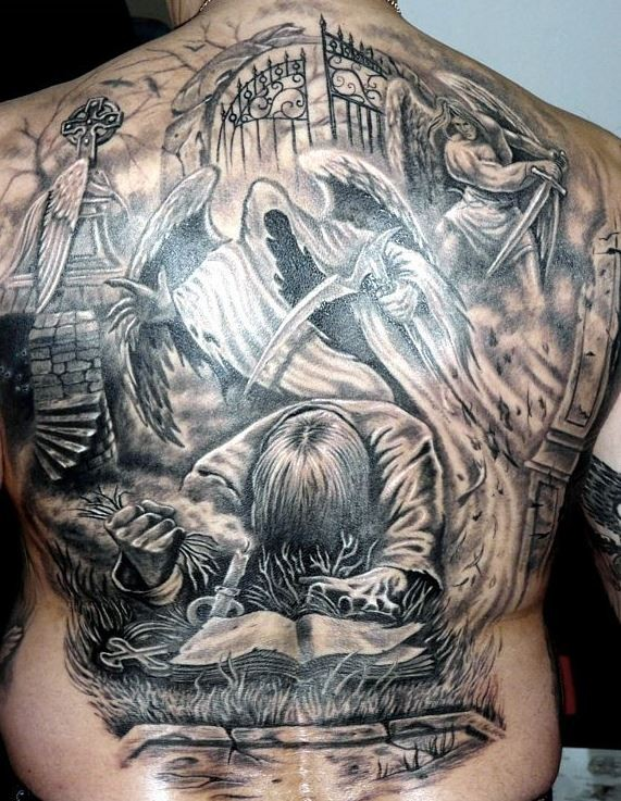 Great penitent and death tattoo on whole back