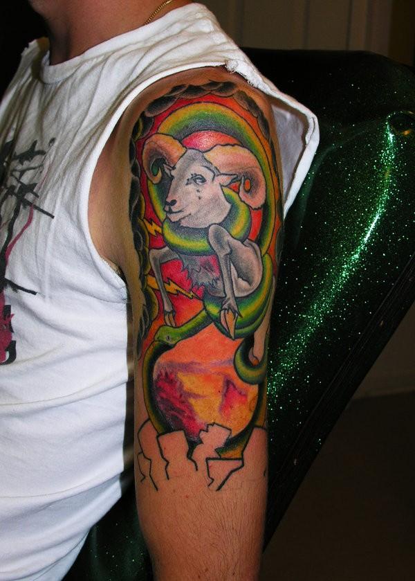 Great ram tattoo on shoulder