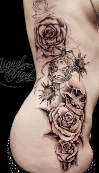 Great roses with skull tattoo on ribs