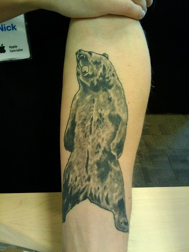 Grizzly bear forearm tattoo