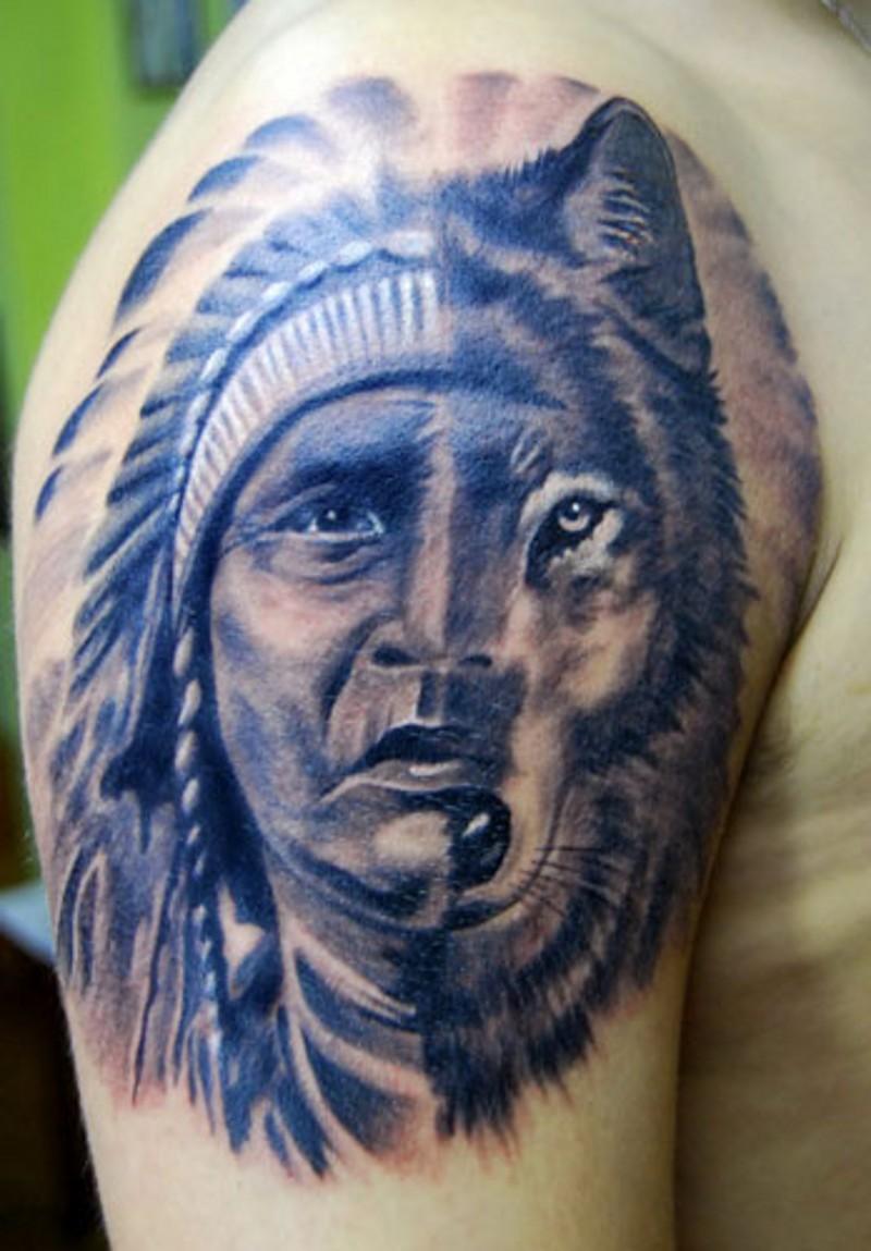 Half face of native american man half wolf tattoo on shoulder