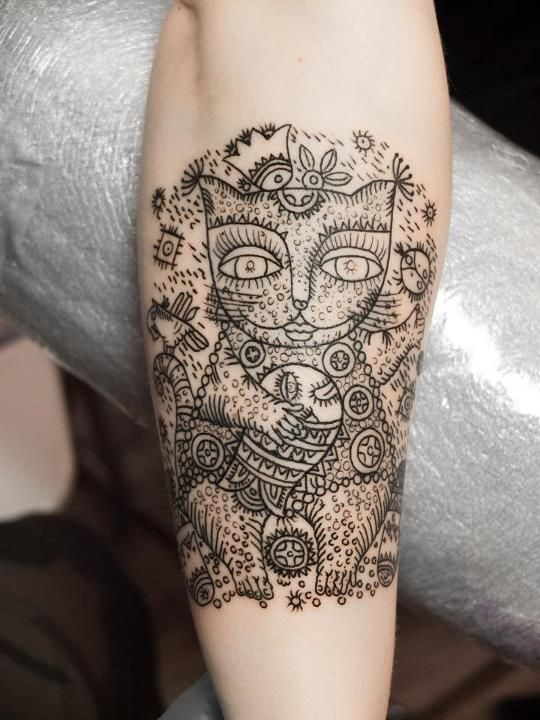 Henna style black ink for girls tattoo of cat with ornaments