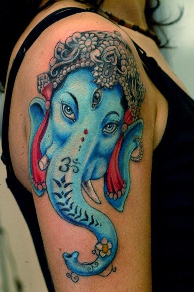 Hinduism themed colored shoulder tattoo of saint elephant