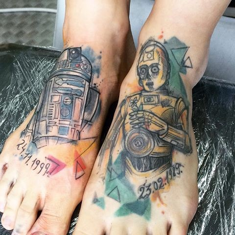 Homemade style colored legs tattoo of Star Wars droids
