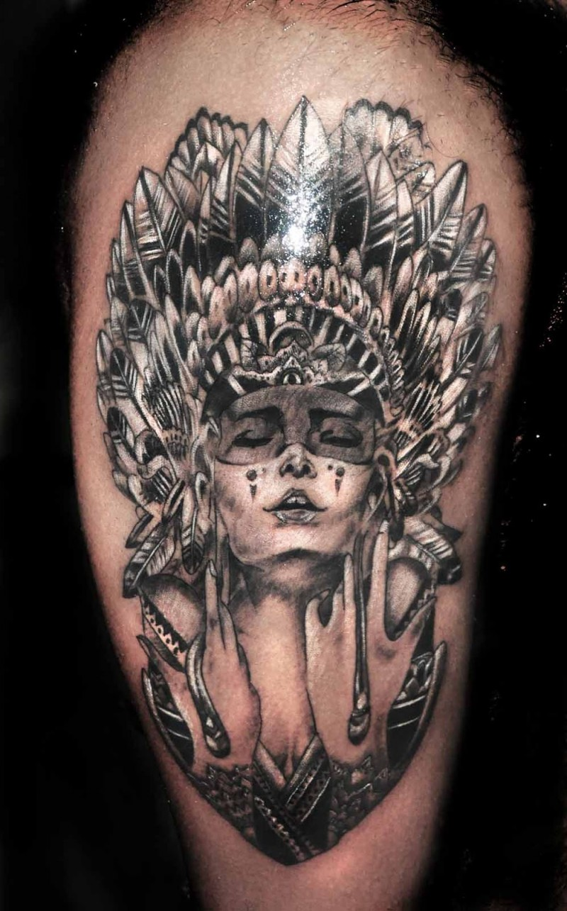 Indian with eagle and wolf tattoo on shoulder tattooimages biz - Homemade Style Colored Thigh Tattoo Of Indian Woman With Beautiful Helmet