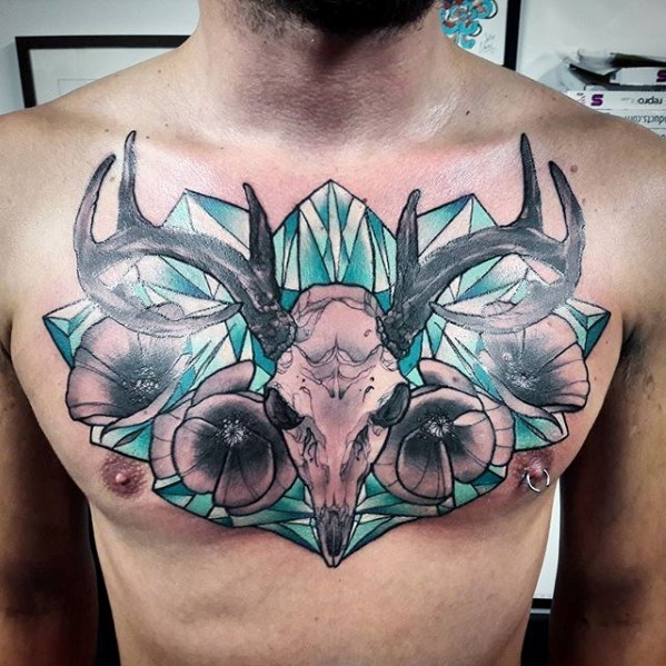 Illustrative style colored chest tattoo of big animal skull with diamond and flowers