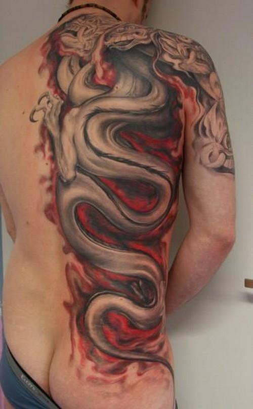 Illustrative style colored half back tattoo of big dragon