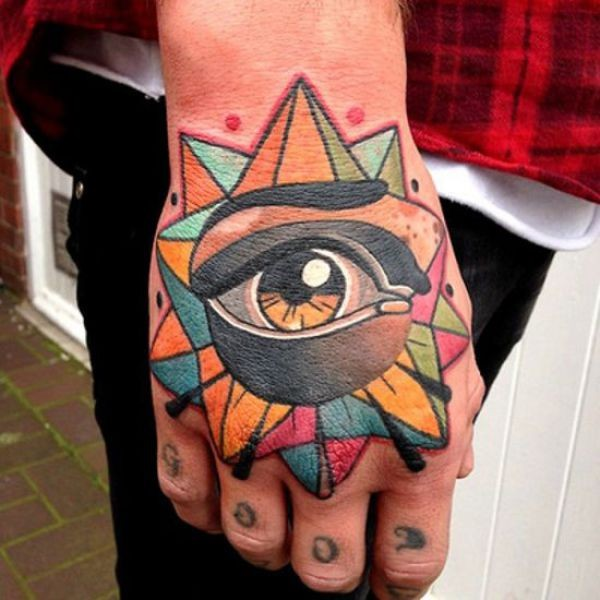 Illustrative style colored hand tattoo of fantasy star with eye