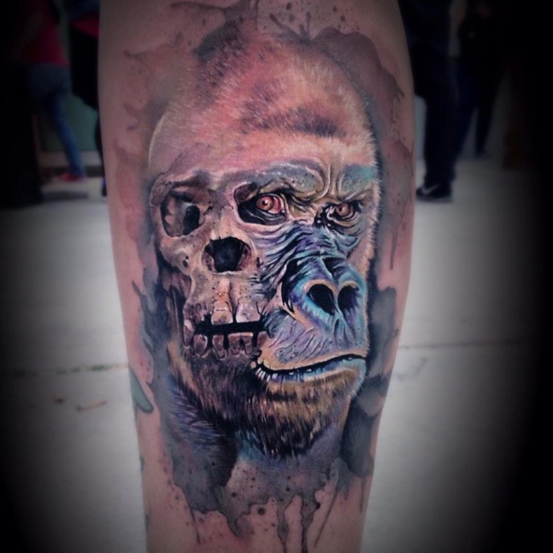Illustrative style colored leg tattoo of bug gorilla with skull