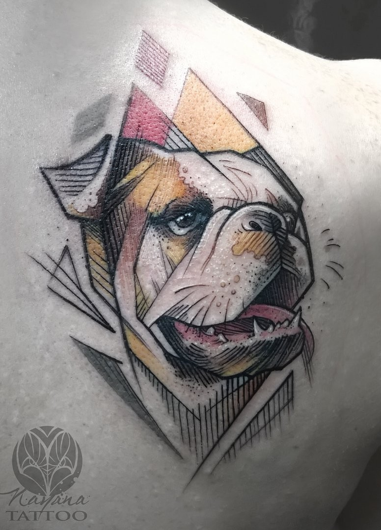 Illustrative style colored scapular tattoo of beautiful dog