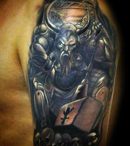 Illustrative style colored shoulder tattoo of fantasy viking