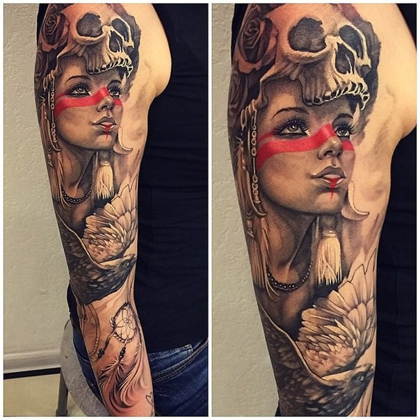 Illustrative style colored sleeve tattoo of tribal woman with birds