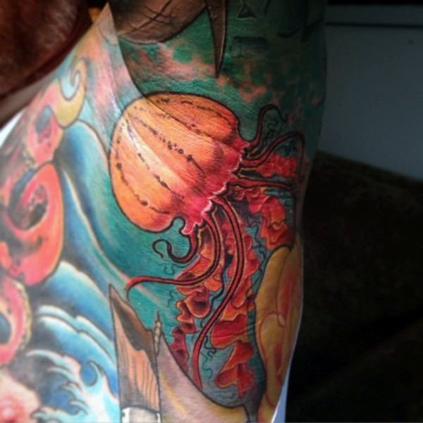 Illustrative style colored tattoo of big jellyfish