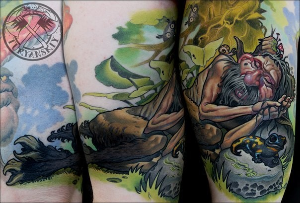 Illustrative style colored thigh tattoo of sleeping man with frog