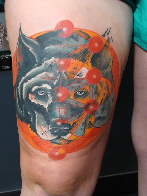Illustrative style colored thigh tattoo of big dog head