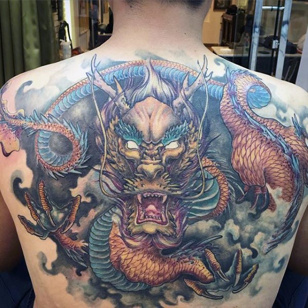 Illustrative style colored  whole back tattoo of big dragon