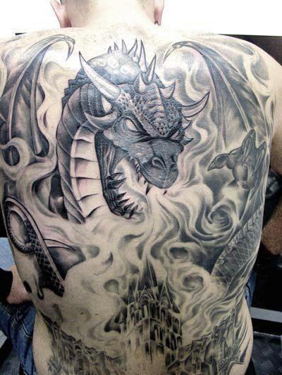 Illustrative style detailed whole back tattoo of big dragon and burning city