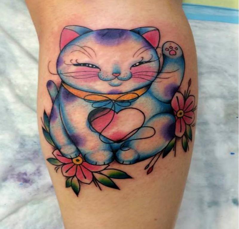 Illustrative style funny looking leg tattoo of smiling maneki neko japanese lucky cat and flowers
