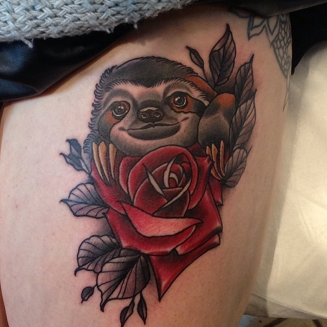 Impressive painted realistic colored sloth with flowers tattoo on thigh