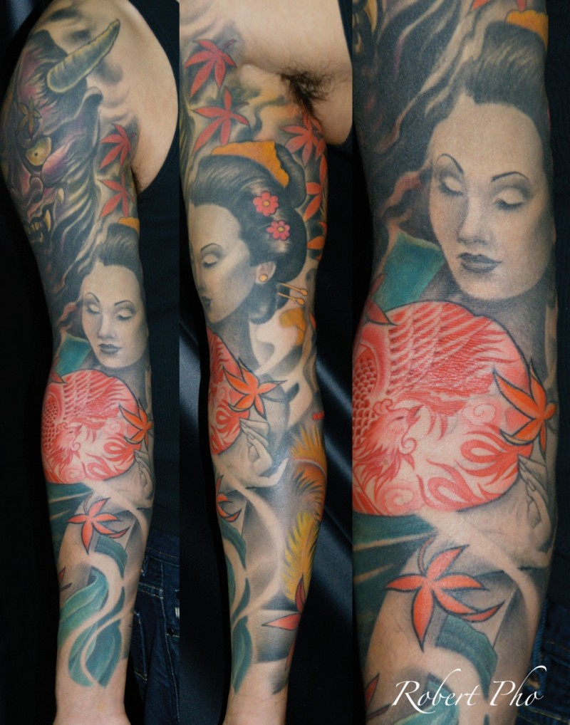 Japanese geisha and samurai mask tattoo on full sleeve