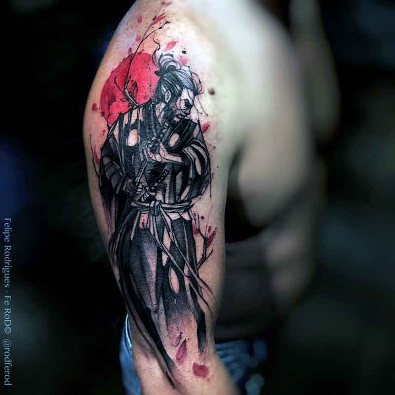 Japanese style colored shoulder tattoo of samurai warrior with tree and sun