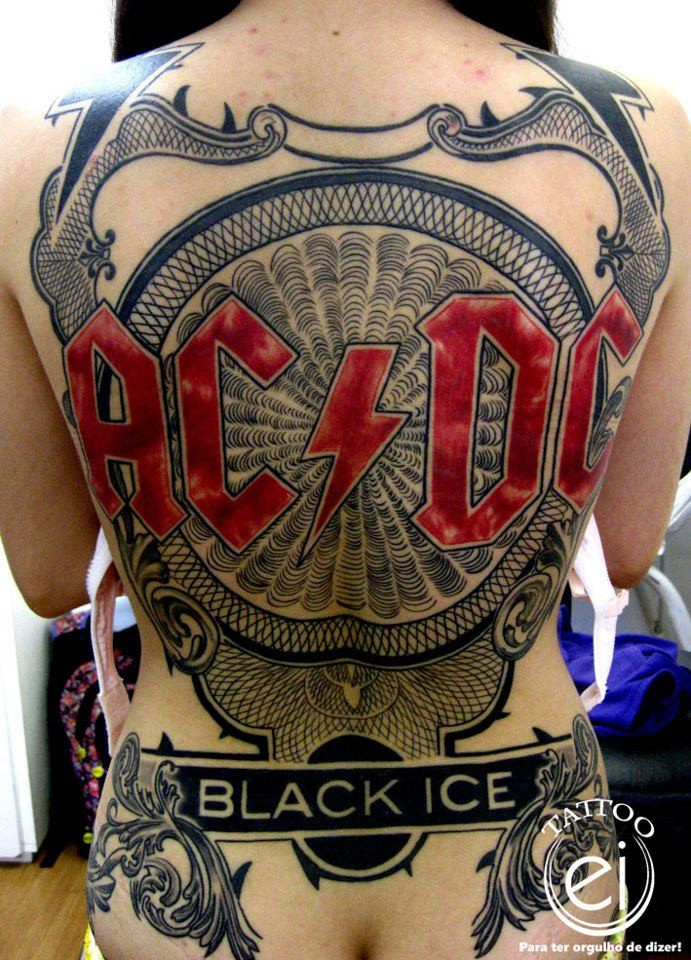 Large creative looking colored whole back tattoo of AC/DC band emblem