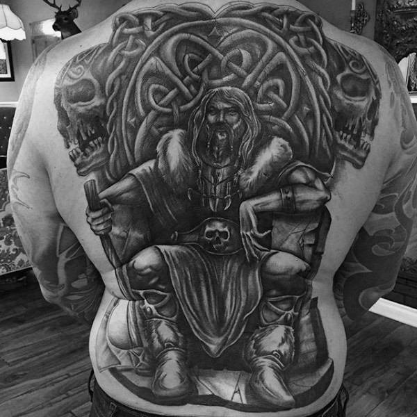 Large fantasy Celtic style whole back tattoo of old warrior with big throne