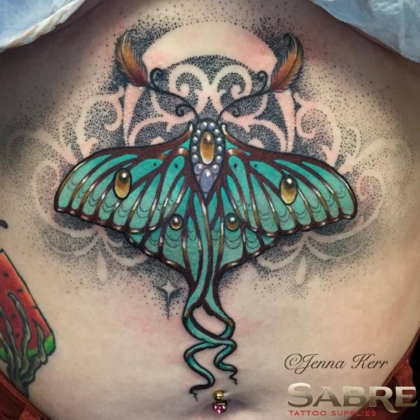 Large painted by Jenna Kerr upper back tattoo of fantastic butterfly