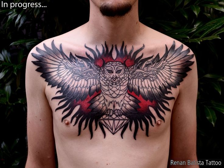 Large very beautiful colored chest tattoo of big mystical owl with diamond