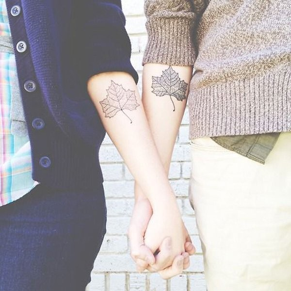 Leaf cute friendship tattoos on hands