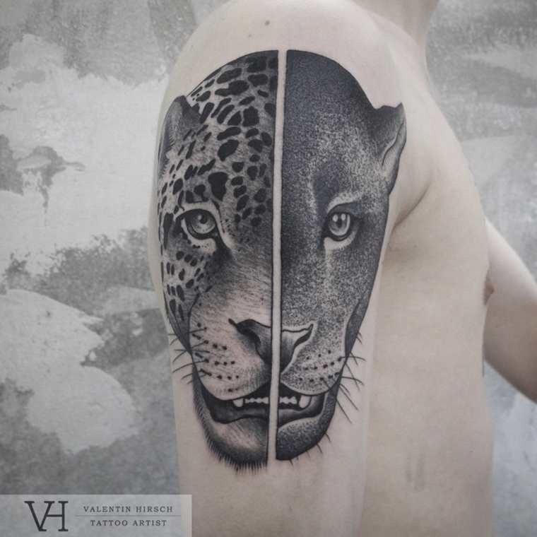 Life like amazing painted shoulder tattoo of split leopard and panther heads by Valentin Hirsch