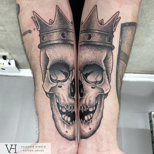 Lifelike dot style cool painted by Valentin Hirsch forearms tattoo of split human skull with crown