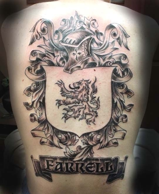 Lovely farrell family crest tattoo on back