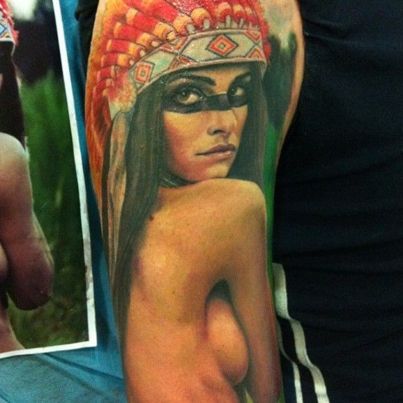 Lovely sexy native american girl tattoo by Koan
