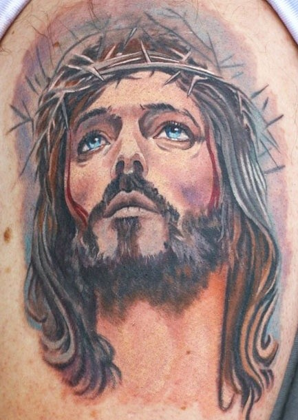 Jesus Carrying The Cross Back Tattoo