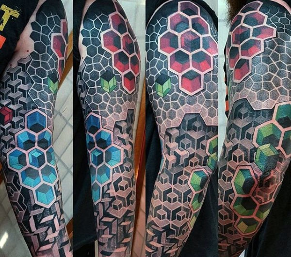 Magnificent geometric style colorful sleeve tattoo of various figures