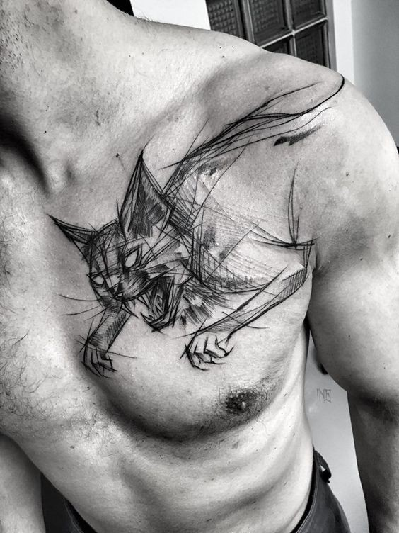 Marvelous painted by Inez Janiak chest tattoo of evil cat