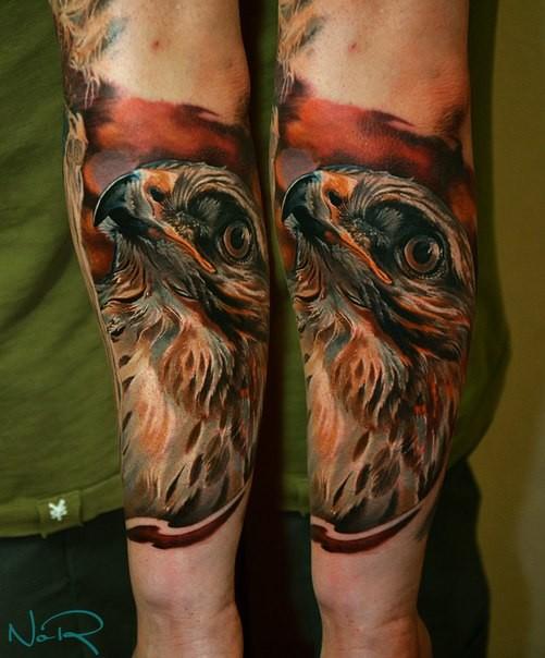 Marvelous very detailed arm tattoo of lifelike eagle