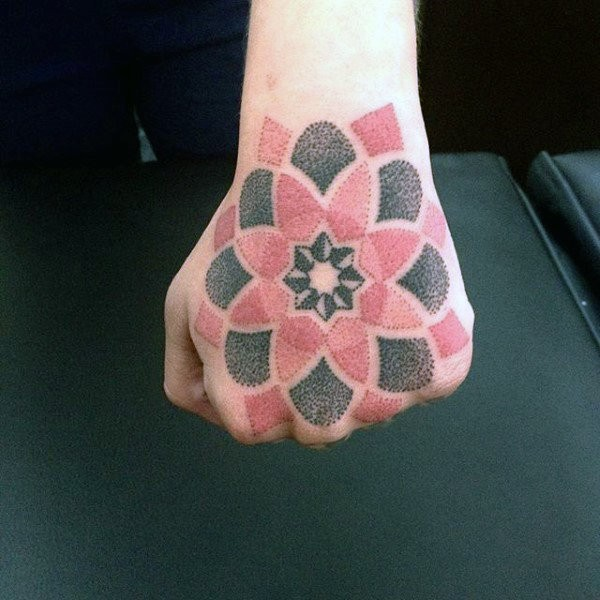 Medium size colored hand tattoo of nice flower