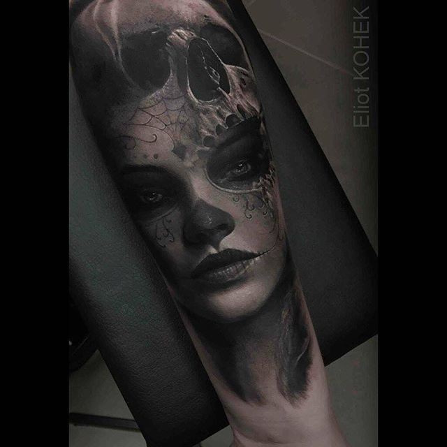 Mexican traditional style detailed forearm tattoo of woman portrait with skull by Eliot Kohek
