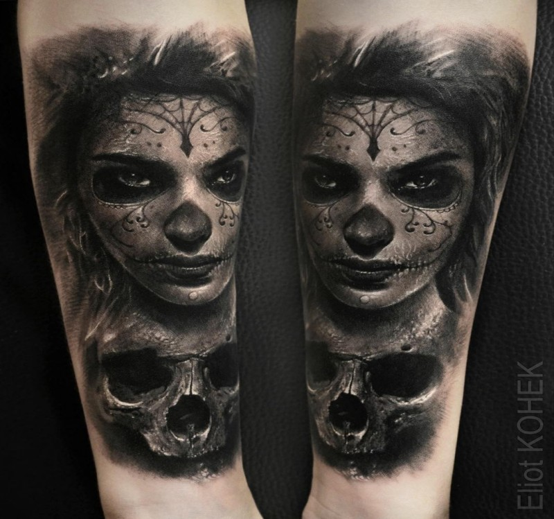 Mexican traditional very detailed forearm tattoo of woman with mask and human skull