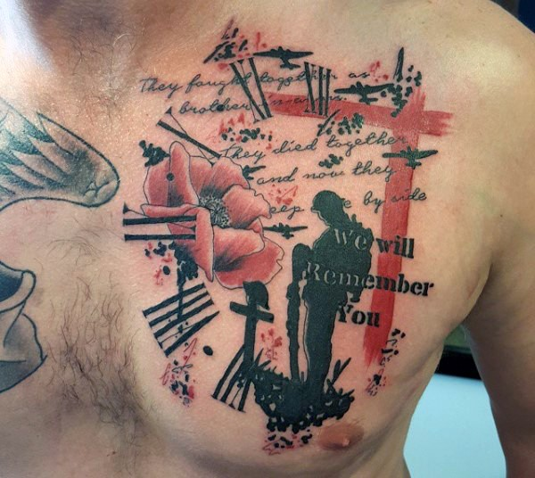 Military style colored memorial tattoo with soldier grave and lettering on chest