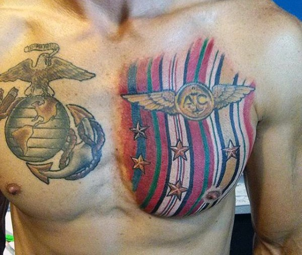 Military themed and colored big stars and stripes tattoo on chest