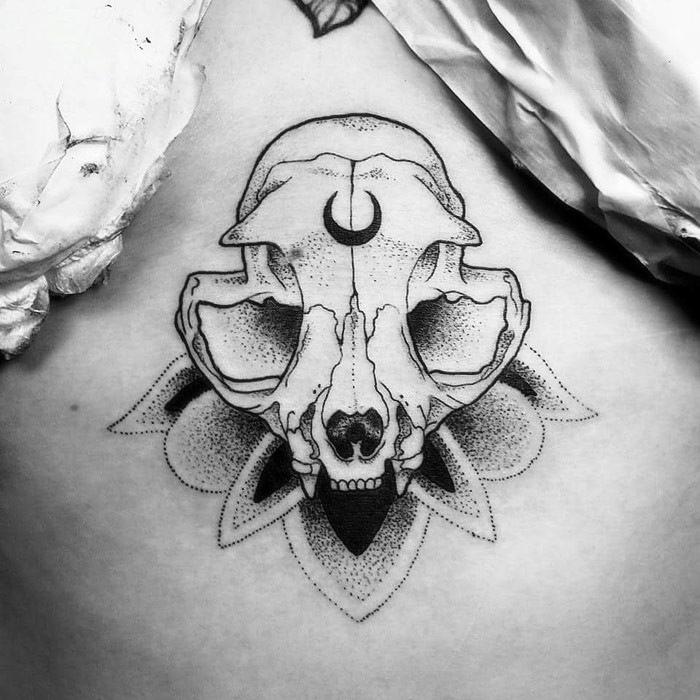 Modern dot style big cat skull with with moon symbol