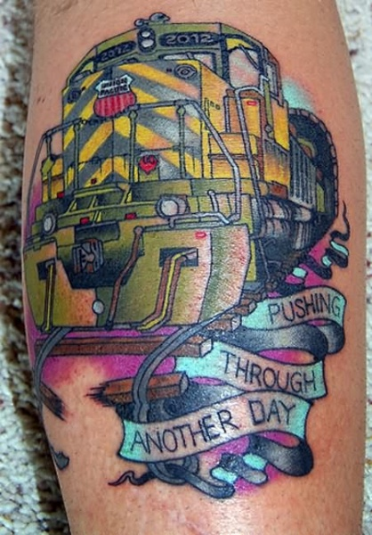 Modern looking colored tattoo of modern train with lettering