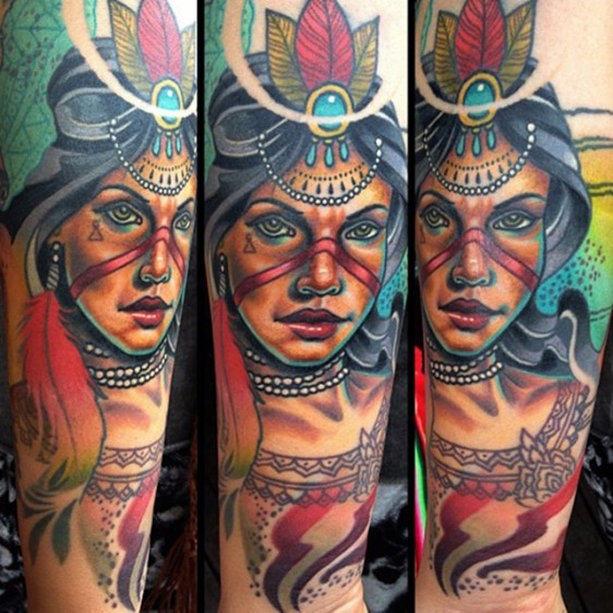 Modern style colored arm tattoo of beautiful tribal woman