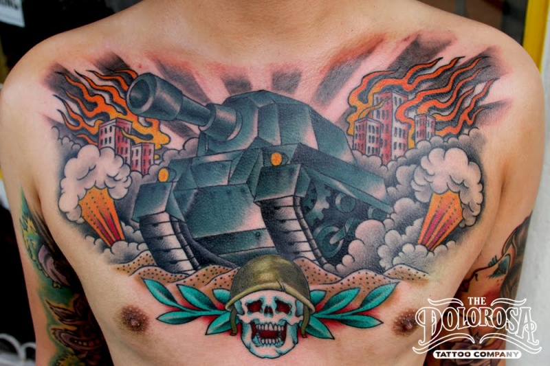 Modern style colored chest tattoo of train with burning city and skull