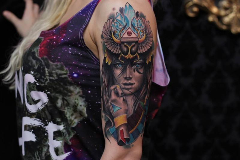 Modern style colored Egypt woman with bug and crystals