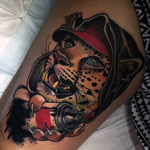 Modern style colored human like leopard with spray paint tattoo